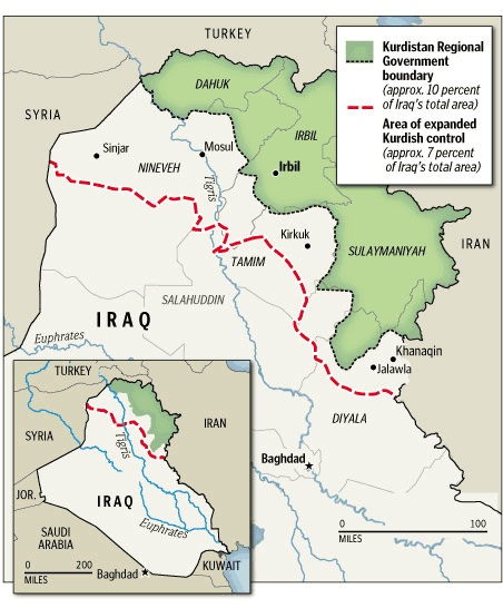 Iraqi Kurdistan Oil - Area Map